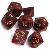 Burgundy & Gold Vortex Polyhedral 7 Dice Set